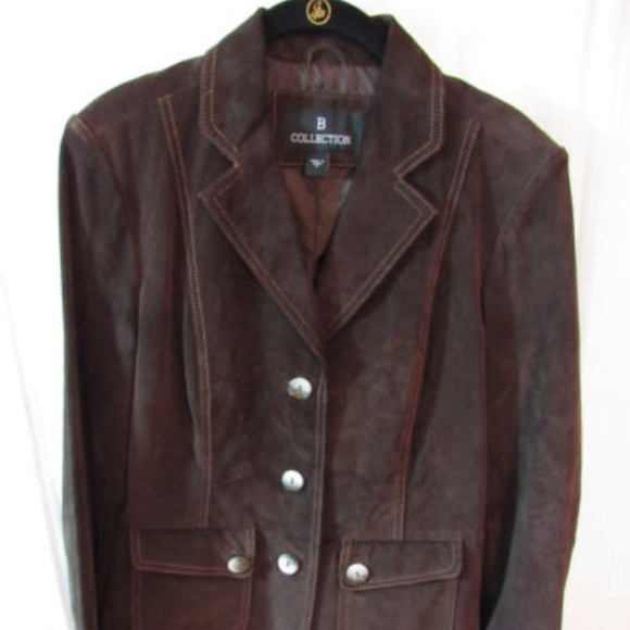 B Collection Jackets & Blazers - B Collection Brown Suede Washable Jacket